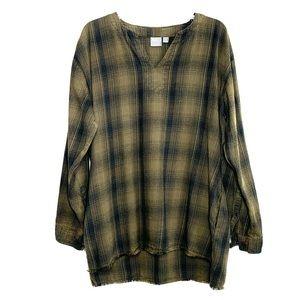 ASOS Plaid Frayed Edge Hi-Low Dress/Tunic Sz M